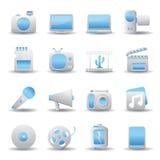 Multimedia ed icone di tecnologia Fotografia Stock