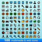 100 multimedia ed icone di web Fotografie Stock