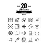 Multimedia elements line icons set. Thin lines icons set of multimedia interface elements, power button, audio and video menu info graphic, media speaker Royalty Free Illustration