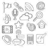 Multimedia en mededeling geschetste pictogrammen Stock Fotografie