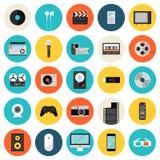 Multimedia en technologie vlakke pictogrammen Stock Afbeeldingen
