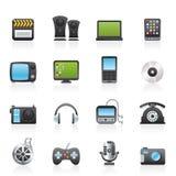 Multimedia en technologiepictogrammen royalty-vrije illustratie