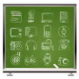 Multimedia en technologiepictogrammen stock illustratie