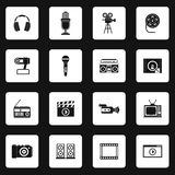 Multimedia equipment icons set, simple style Royalty Free Stock Photos