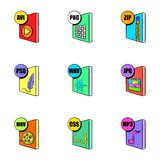 Multimedia file icons set, cartoon style Stock Photography