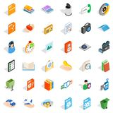 Multimedia file icons set, isometric style. Multimedia file icons set. Isometric set of 36 multimedia file vector icons for web isolated on white background Stock Image