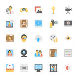 Multimedia Flat Colored Icons 7 Stock Images