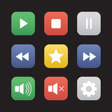 Multimedia flat design icons set Stock Image