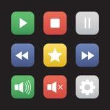 Multimedia flat design icons set Stock Image