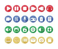 Multimedia Flat Icons Stock Images