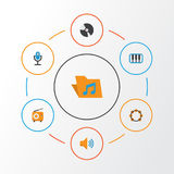 Multimedia Flat Icons Set. Collection Of Pianoforte, Broadcasting, Audio And Other Elements. Also Includes Symbols Such. Multimedia Flat Icons Set. Collection Of Stock Photography