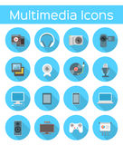 Multimedia Flat Icons Stock Photos