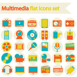 Multimedia flat icons set Stock Images