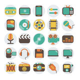 Multimedia flat icons set Royalty Free Stock Photography