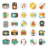 Multimedia flat icons set. Modern flat icons vector illustration collection in stylish colors of multimedia symbols, sound instruments, audio and video items and Stock Photo