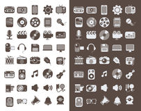 Multimedia flat icons set Royalty Free Stock Image