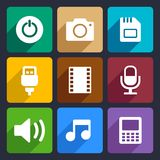 Multimedia flat icons set 2. Multimedia flat icons set for Web and Mobile Applications royalty free illustration