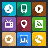 Multimedia flat icons set 1. Multimedia flat icons set for Web and Mobile Applications stock illustration