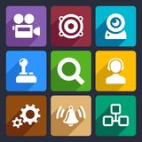 Multimedia flat icons set 3. Multimedia flat icons set for Web and Mobile Applications stock illustration