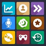 Multimedia flat icons set 6 Royalty Free Stock Photo