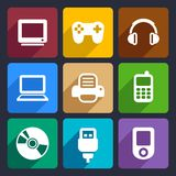Multimedia flat icons set 7 Royalty Free Stock Image