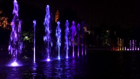 Multimedia fountain park at night.