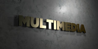 Multimedia - Gold text on black background - 3D rendered royalty free stock picture Royalty Free Stock Images
