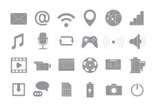 Multimedia gray vector icons set. Set of 24 Multimedia gray vector icons Royalty Free Stock Image