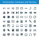 Multimedia, Hardware und Gerät-Ikonen Lizenzfreie Stockfotografie