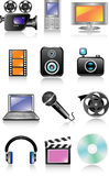 Multimedia icon set. Vector illustration Royalty Free Stock Photos