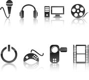 Multimedia icon set. Stock Photo