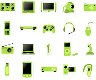 Multimedia icon set. Electronic Multimedia stuff icon set Stock Photography