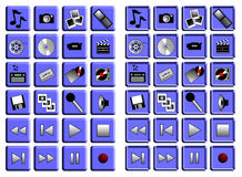 Multimedia Icon Set Stock Image