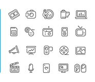 Multimedia Icon Set // Blue Line Series. Line multimedia icons for your digital or print projects Stock Photography
