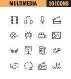 Multimedia icon set. Multimedia flat icon set. Collection of high quality outline symbols for web design, mobile app. Vector thin line icons or logo of mail Stock Photo