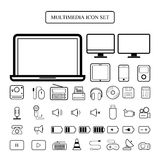 Multimedia icon set  Royalty Free Stock Photos