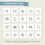Multimedia icon set. Simple flat buttons Stock Images