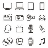 Multimedia icon sets Stock Photos