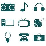 Multimedia icons. Vector with blue multimedia icons Royalty Free Stock Image