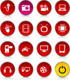 Multimedia icons. Multimedia glossy icons. Set of buttons Vector Illustration