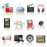 Multimedia icons. Set of 12 multimedia icons vector illustration