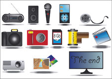 Multimedia icons Royalty Free Stock Image