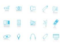 Multimedia icons. Illustration of blue multimedia icons Stock Photos