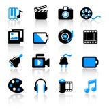 Multimedia icons. Set of 16 multimedia icons on white background Stock Photography