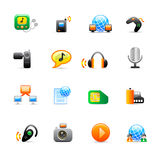 Multimedia icons. Set of 16 colorful multimedia icons Royalty Free Illustration