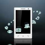 Multimedia icons around the white smartphone Royalty Free Stock Photo