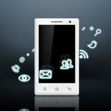 Multimedia icons around the white smartphone Royalty Free Stock Photo