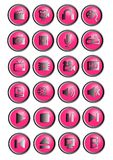 24 multimedia icons or bright pink and silver buttons. Metal effect Stock Photos