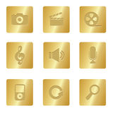 Multimedia Icons | Bronze Square 03 Royalty Free Stock Photography