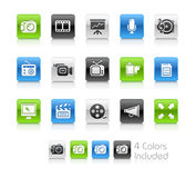 Multimedia Icons// Clean Series. The  file includes 4 color versions for each icon in different layers Royalty Free Stock Image